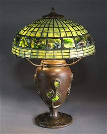 A signed Tiffany Studios turtleback table lamp, the 15