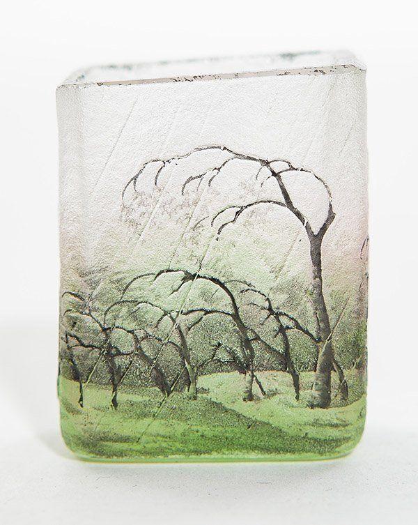 Daum French cameo rain scene vase, diminutive cabinet