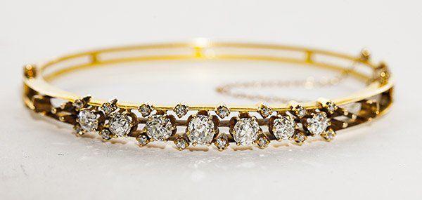 Antique 14k yellow gold and diamond bangle bracelet,