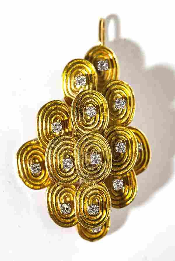 Antique 18k yellow gold and diamond pin/pendant, 22.1