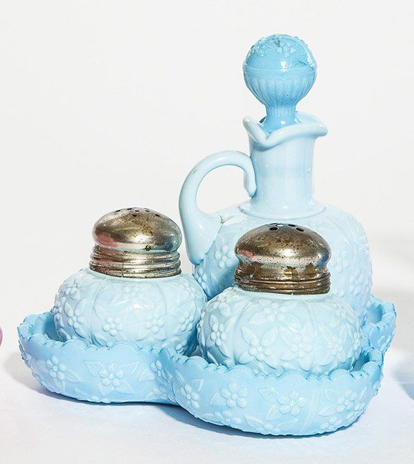 """Challinor """"Forget Me Not"""" Condiment set consisting of a"""