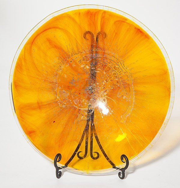 Kent Ipsen platter, translucent yellow glass form with