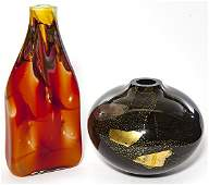 Two contemporary art glass vases including a bulbous