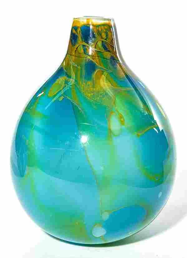 Kent Ipsen art glass vase, monumental bulbous form in