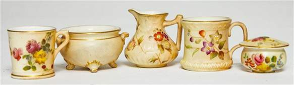 """Five Royal Worcester miniatures including a 1 3/4"""""""