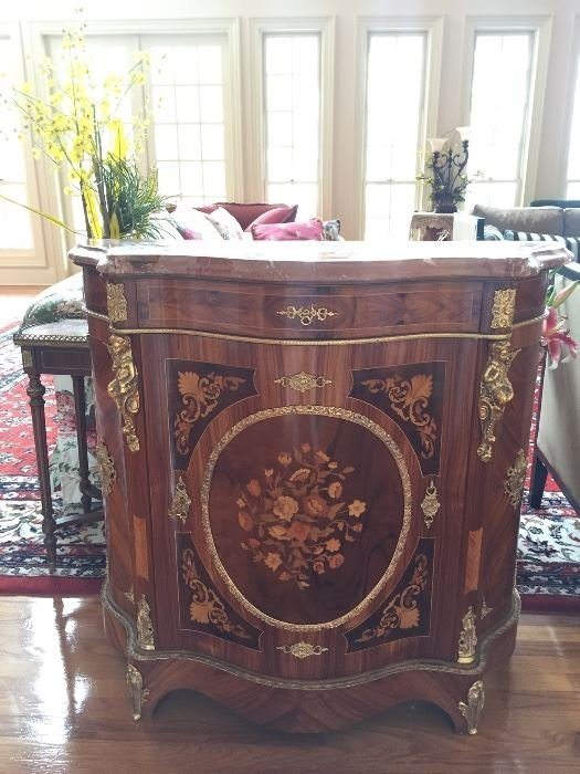 Beautiful inlaid, marble-topped cabinet