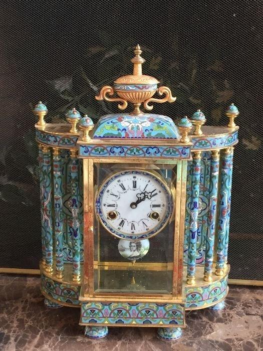Enamel mantle clock