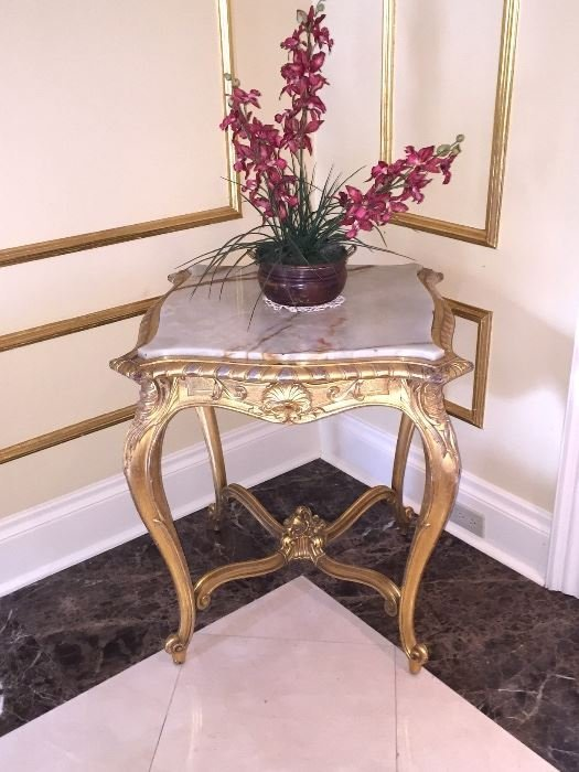 Marble-topped table