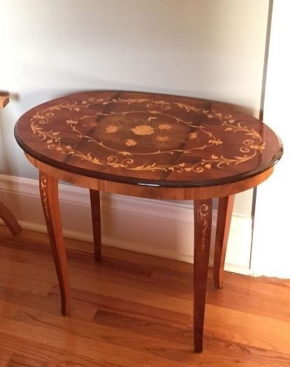Inlaid wood side table
