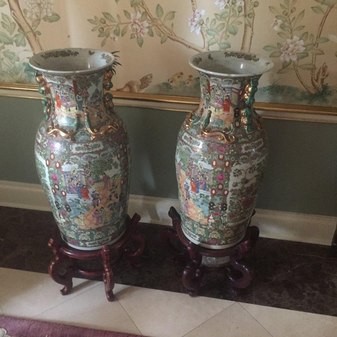 Tall Asian-style floor vase
