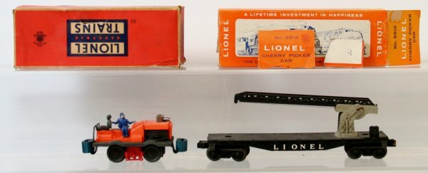 4: LIONEL 6512 CHERRY PICKER, 50 GANG CAR