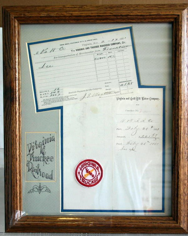 804: FRAMED VIRGINIA & TRUCKEE RR BILL OF LADING DATED