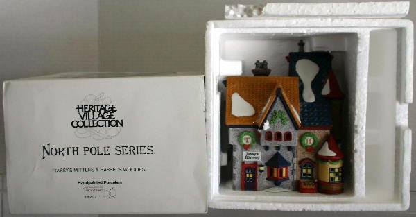 "3: DEPT 56 NORTH POLE SERIES #5622-7 ""TASSY'S MITTENS &"