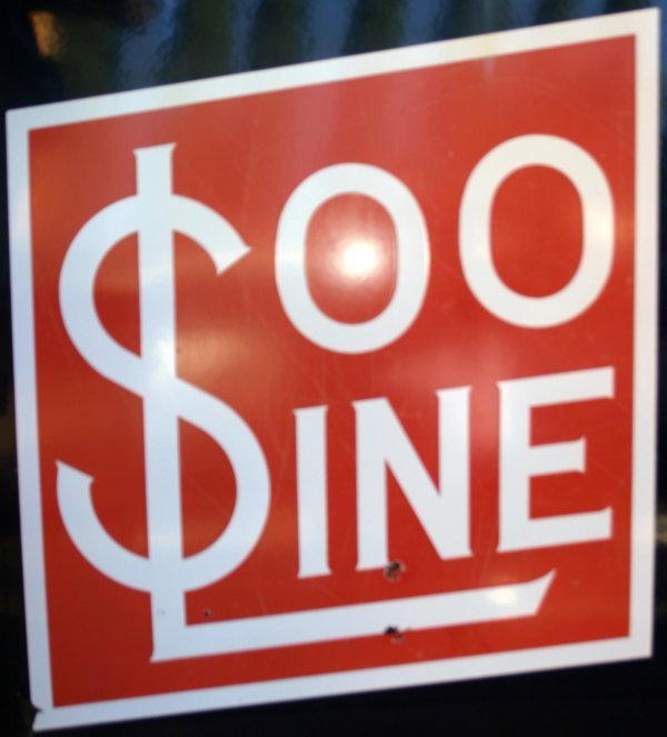 9: SOO PORCELINE SIGN. APP. 30 X 30 INCHES. Condition: