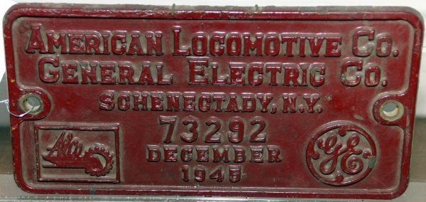 532: ORIGINAL BULIDERS PLATE FROM AMERICAN LOCOMOTIVE C