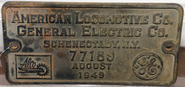 533: ORIGINAL BUILDERS PLATE FROM AMERICAN LOCOMOTIVE C