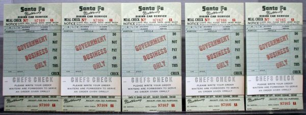 276: SANTA FE RAILROAD DINING CAR ORDER CHECKS. UNUSED.