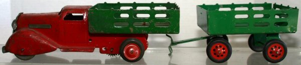 288: COURTLAND RED AND GREEN TRUCK AND TRAILER. Conditi