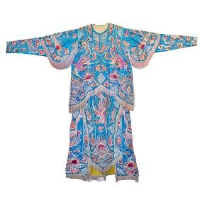 Qing, Blue Satin Robe with Embroidered Phoenixes and