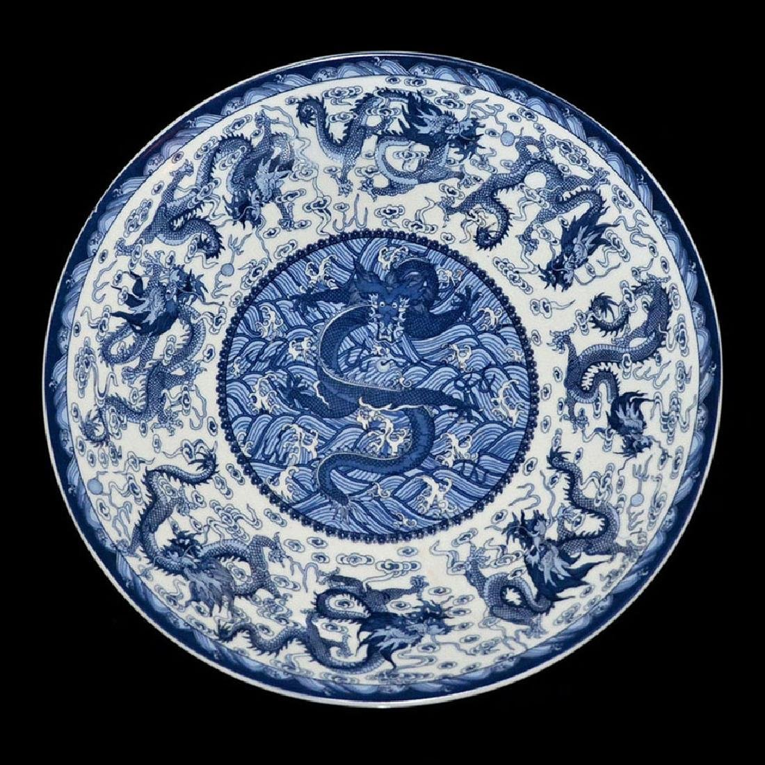 Qing, Sacrificial Blue Enamel Nine-Dragon Plate