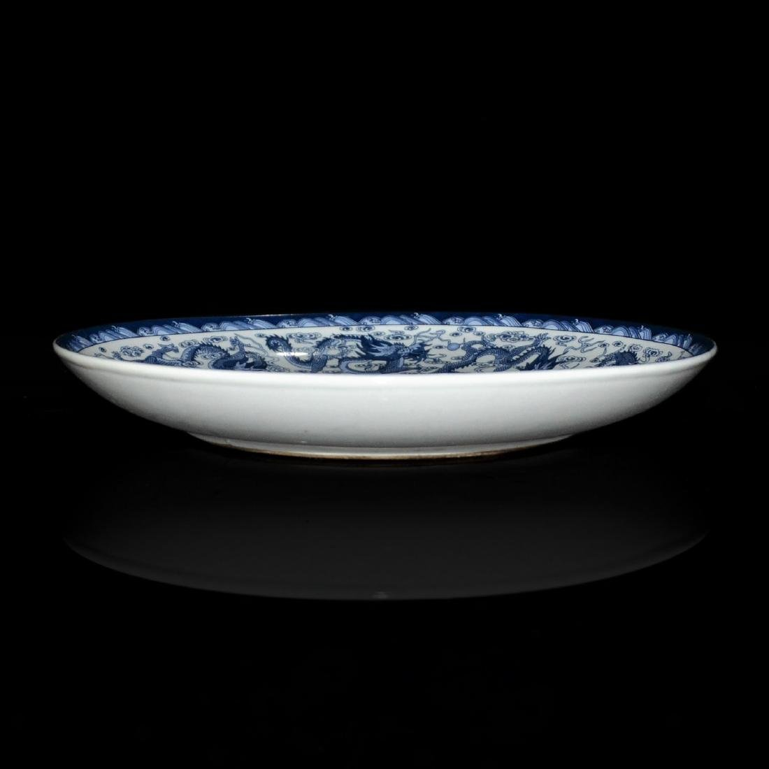 Qing, Sacrificial Blue Enamel Nine-Dragon Plate - 2