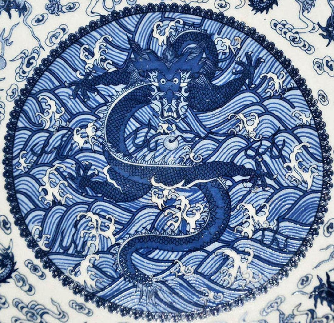 Qing, Sacrificial Blue Enamel Nine-Dragon Plate - 5