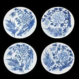 Republic Period, A Set of Four Blue and White Phoenix