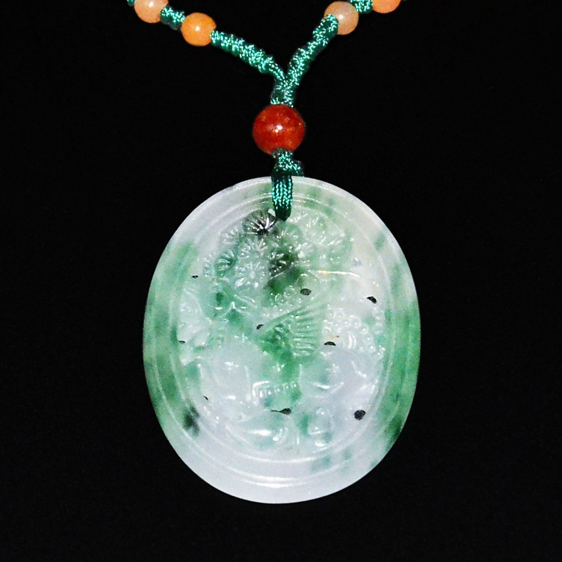Glass Lavender and Jadeite Deer and Pine Pendant