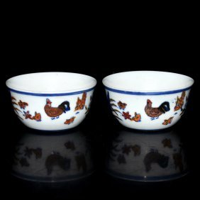 Qing, A Pair Of Chicken Cups(ming Chenghua Style)