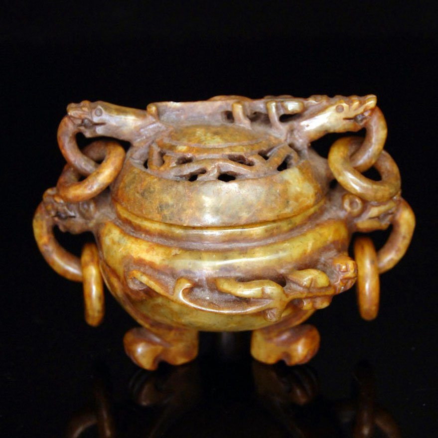 Ming, Archaistic Yellow Jade Tripod Censer and Cover