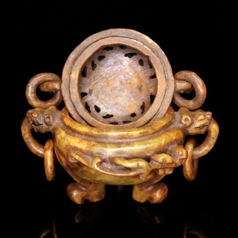 Ming, Archaistic Yellow Jade Tripod Censer and Cover - 3