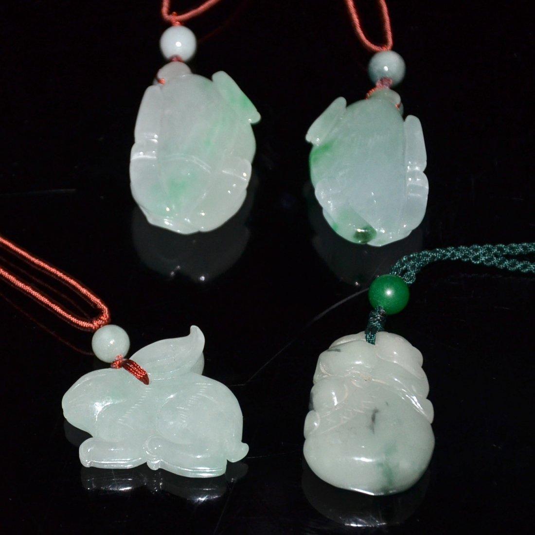 Four Icy Jadeite Pendants:  Buffalo and Rabbit - 2