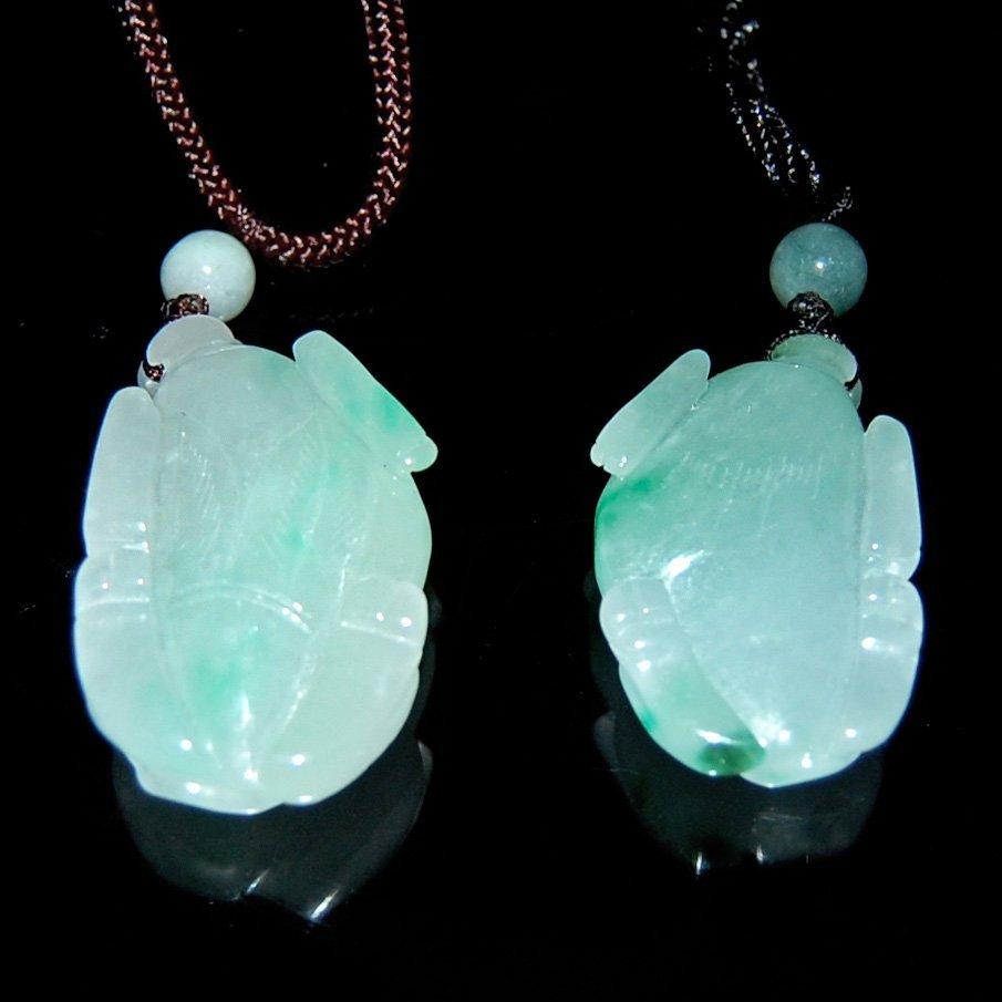 Four Icy Jadeite Pendants:  Buffalo and Rabbit - 4