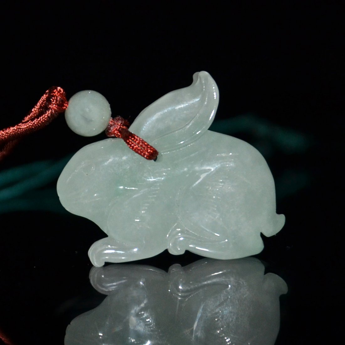 Four Icy Jadeite Pendants:  Buffalo and Rabbit - 6