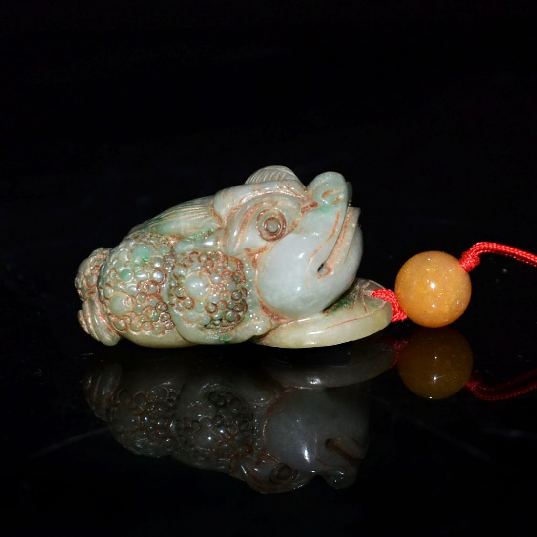 Ming, A Jadeite Carving of Toad with Dragon Head Pebble - 5