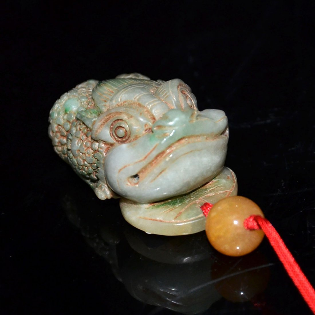 Ming, A Jadeite Carving of Toad with Dragon Head Pebble - 6