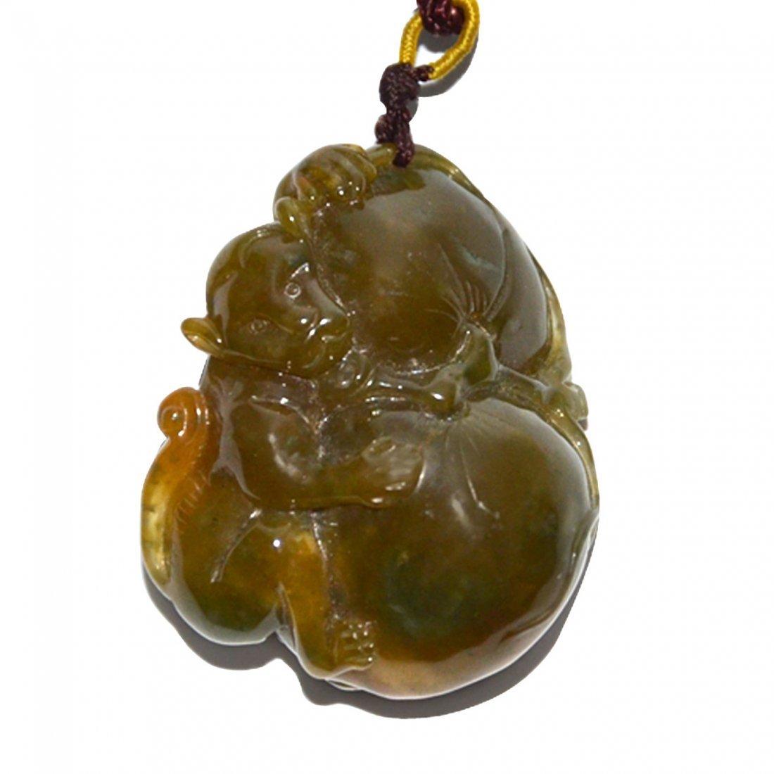 Yellow Jade Monkey with Peach Longevity Pendant - 2
