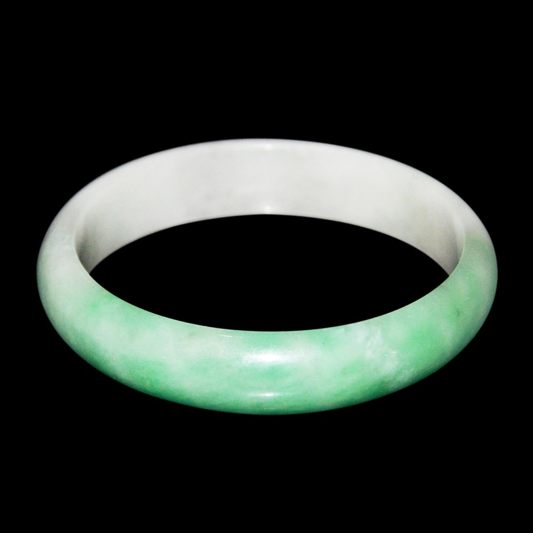 Glass Jadeite Bracelet with Green Patches - 4