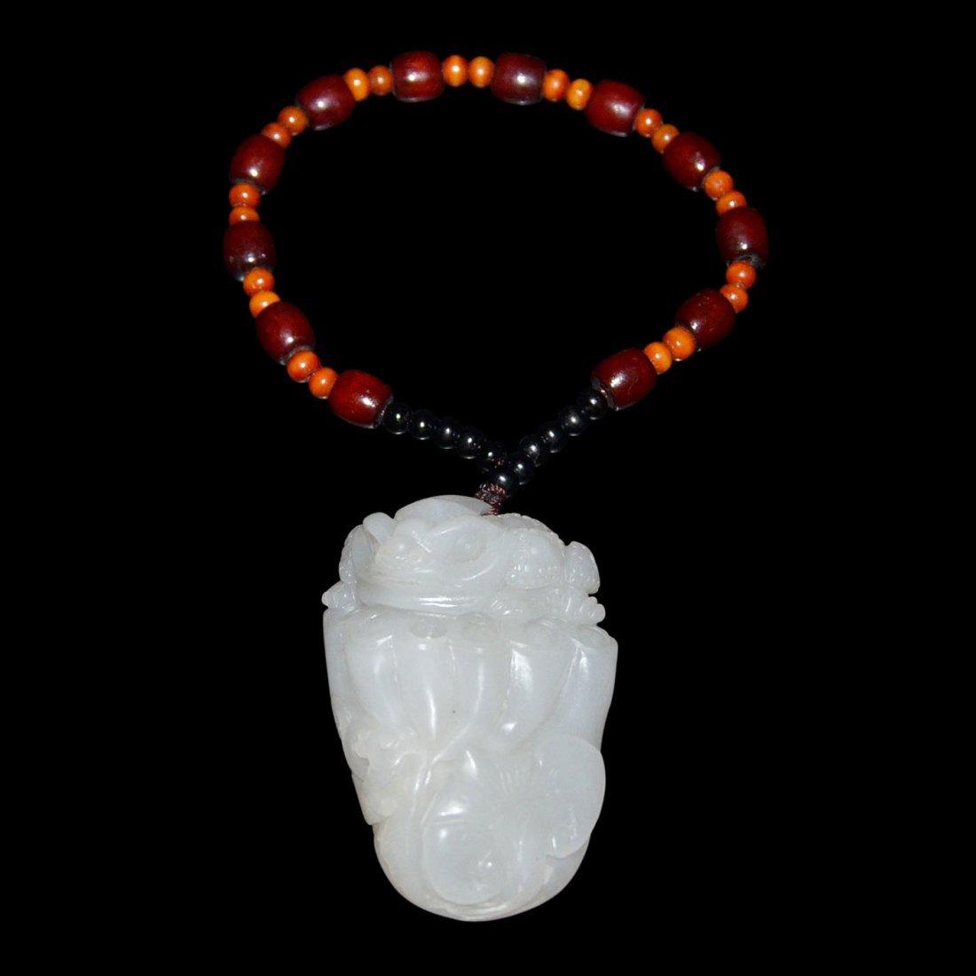 Hetian White Jade Mythical Beast on Lotus-pod Pendant - 3