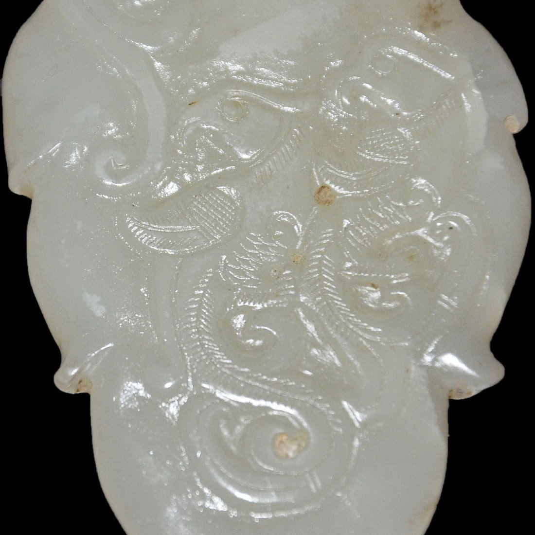 Hetian White Jade Phoenix Pendant in Leaf-form - 2