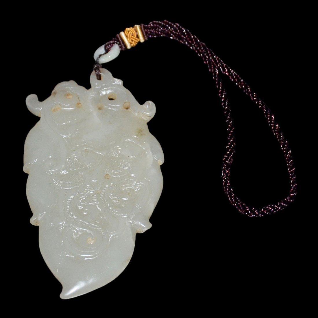 Hetian White Jade Phoenix Pendant in Leaf-form - 3