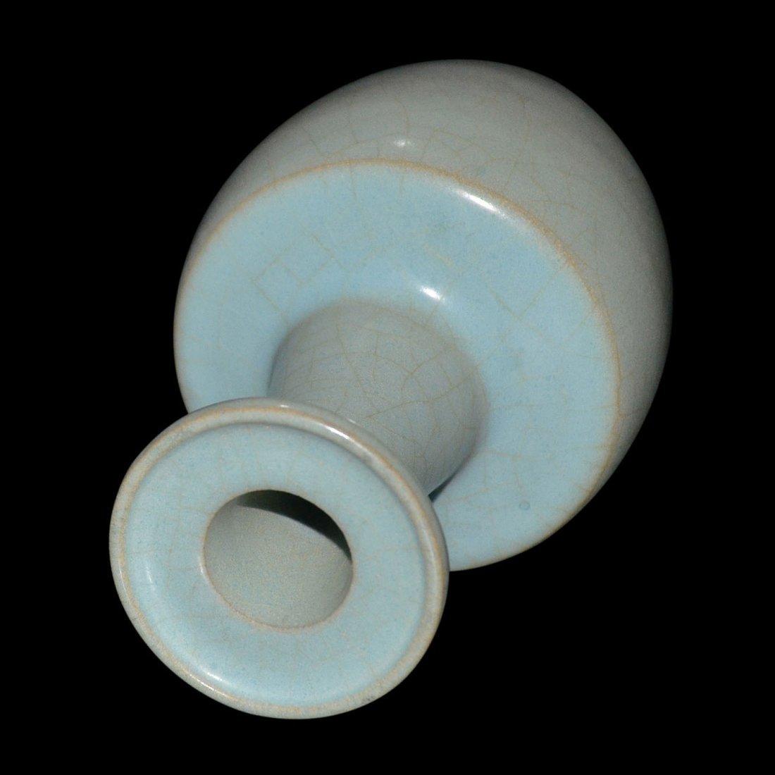 Yueyao-Type Sky-blue Glazed Bottle Vase with Dish - 3