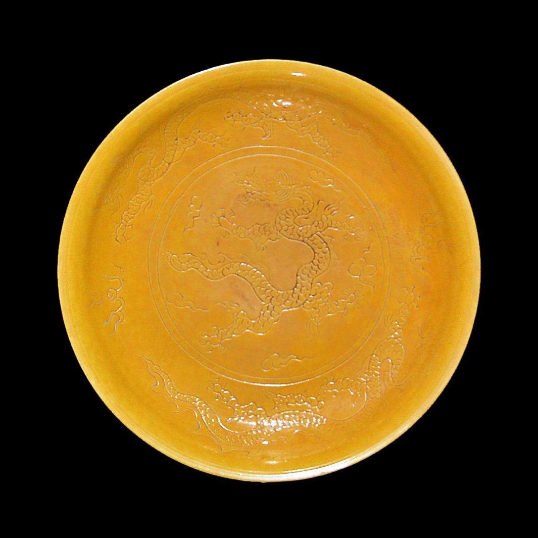Ming, Yellow-Glazed Dish Interior and Exterior