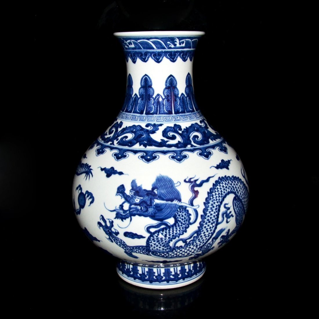 Qing, A Large Ming-Style Blue and White Flaming Dragon