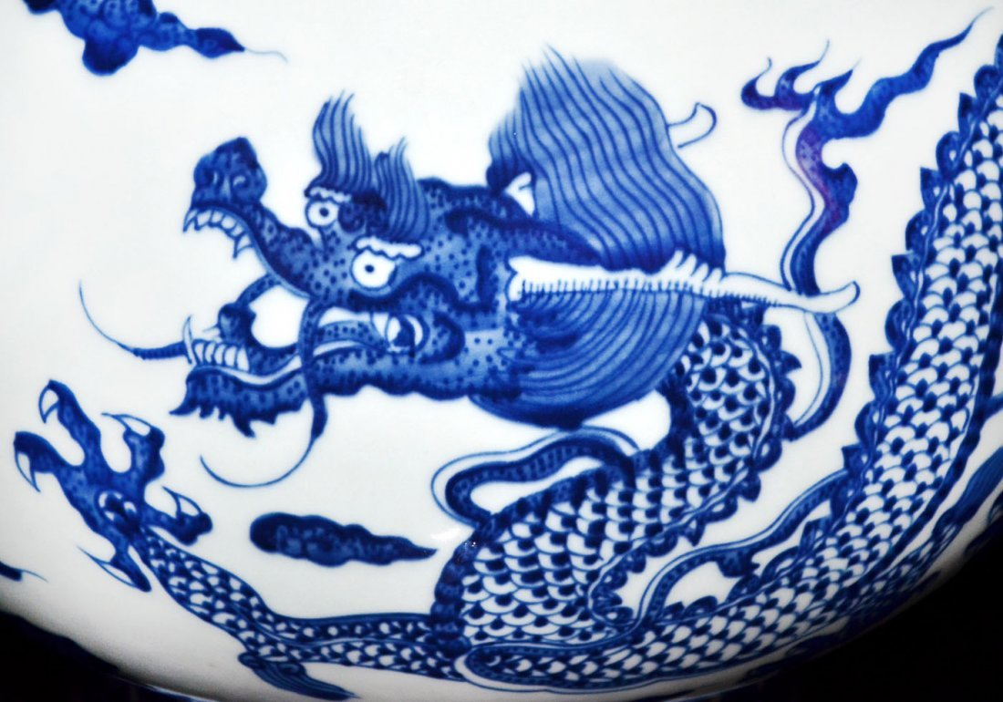 Qing, A Large Ming-Style Blue and White Flaming Dragon - 8