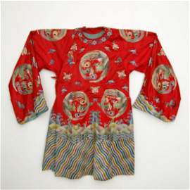 A Red Silk Court Lady's Embroidered Phoenix Robe