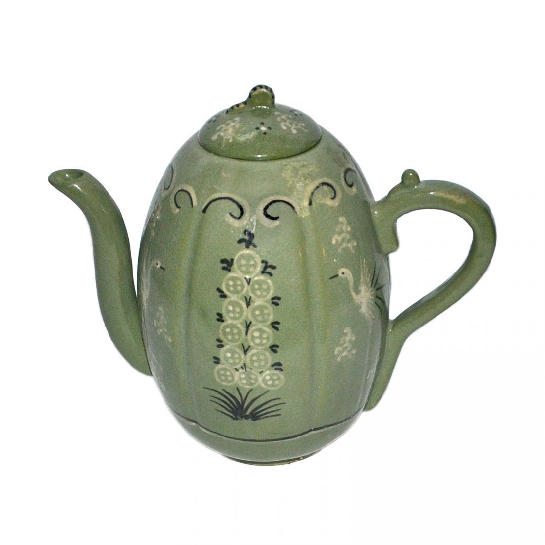 Korea, Green-glazed Melon-shaped Bird and Flower Ewer