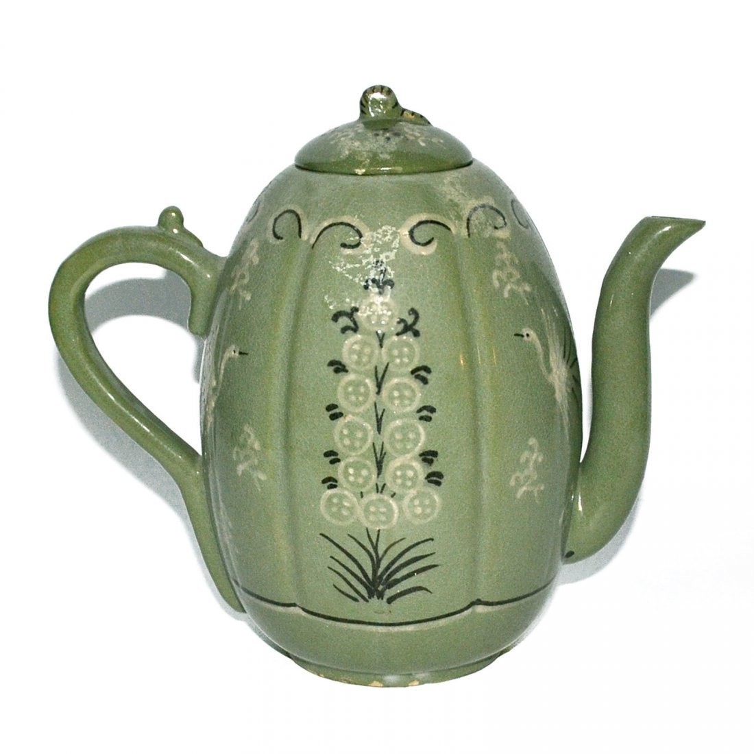 Korea, Green-glazed Melon-shaped Bird and Flower Ewer - 3