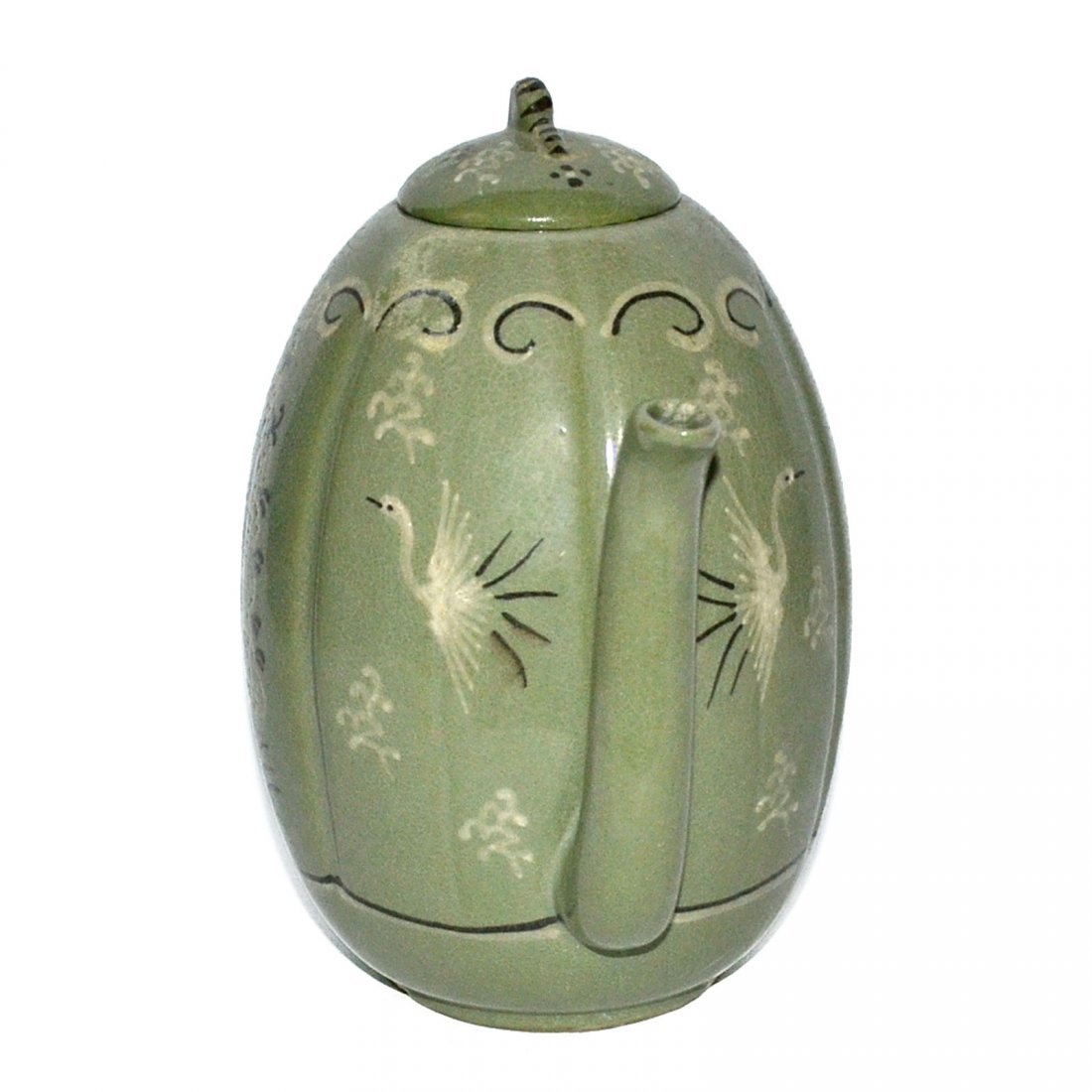 Korea, Green-glazed Melon-shaped Bird and Flower Ewer - 4