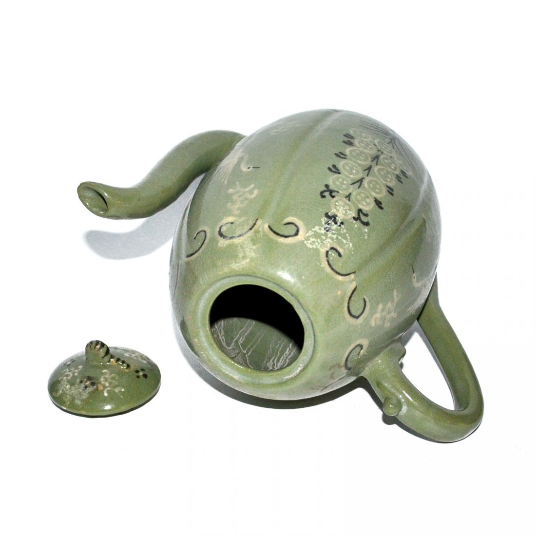 Korea, Green-glazed Melon-shaped Bird and Flower Ewer - 5